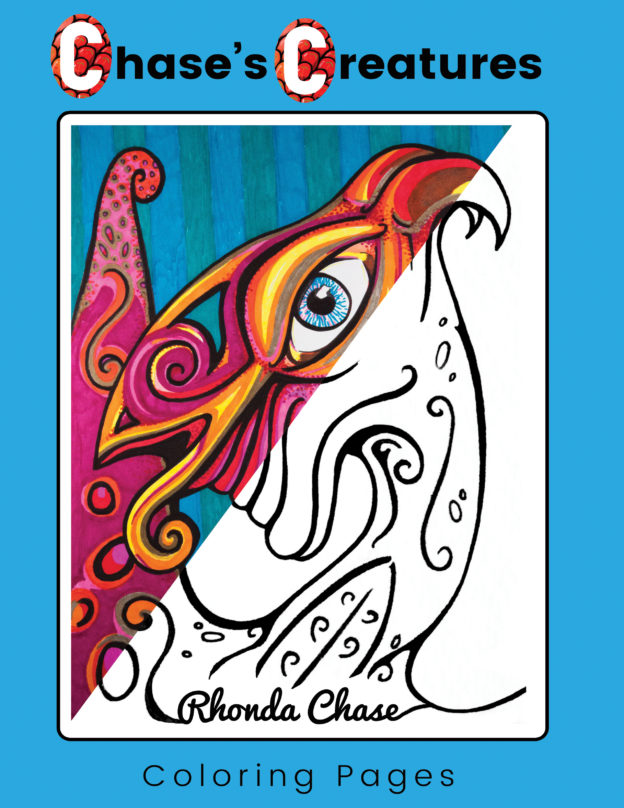 """Chase's Creatures Coloring Pages"" by Rhonda Chase. Published by Dancing Moon Press."